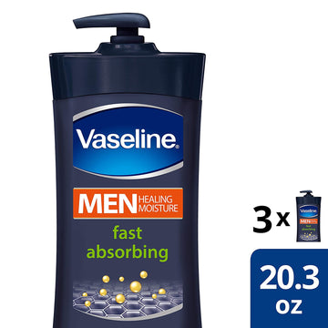Vaseline Men Healing Moisture Body Lotion For Dry Skin Fast Absorbing Absorbs in Just 15 Skin For Moisturized Skin 20.3 oz 3 count