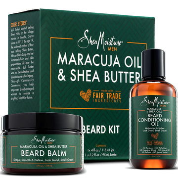 Shea Moisture Beard Oil & Balm Grooming Kit For Men, Organic All natural Maracuja & Shea Oils, Beard Conditioning Oil, 3.2 Ounce & Beard Balm, 4 Ounce. Moisturize & Soften