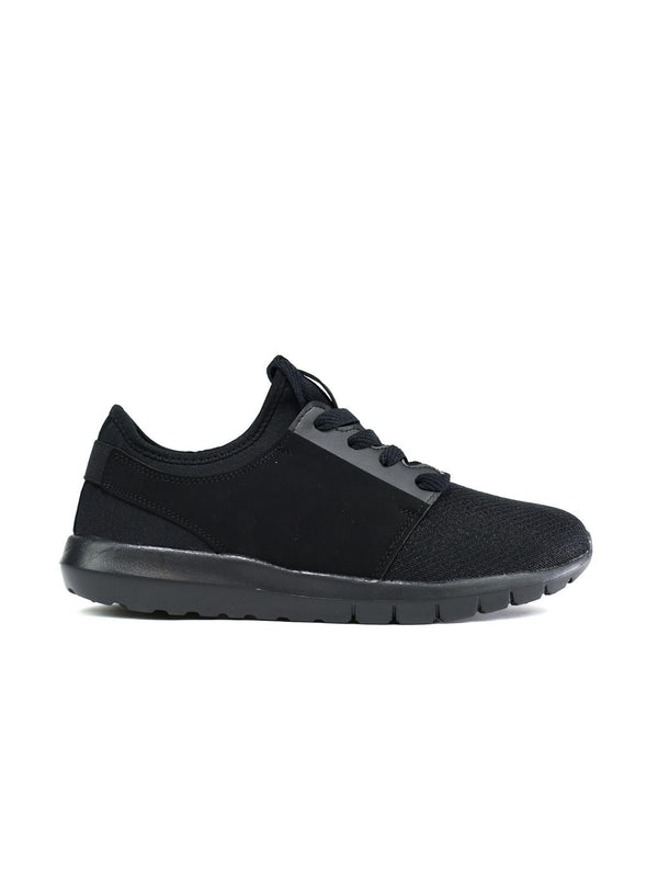 Men's Lace Up Memory Foam Trainers Black - Global Planet