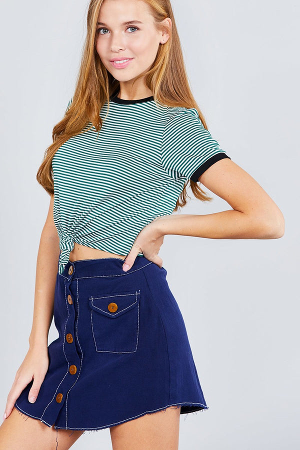 Short Crew Neck W/contrast Binding Front Tie Stripe Rayon Spandex Top - Global Planet