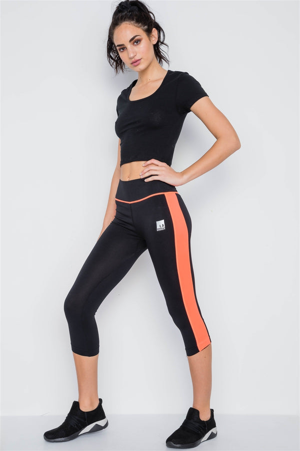 Contrast Stripe Active Sporty Leggings - Global Planet