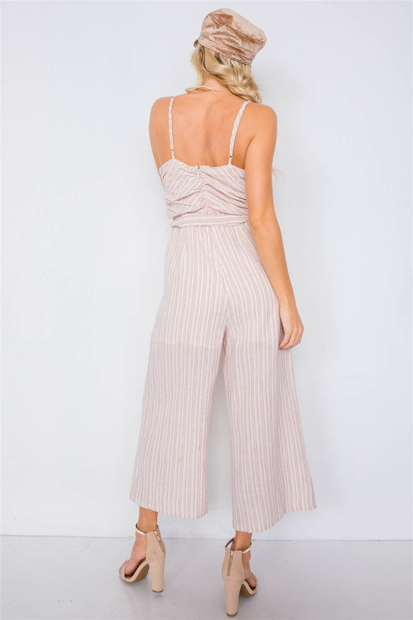 Spaghetti Strap Striped Jumpsuit - Global Planet