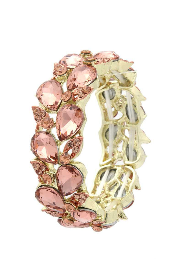 Teardrop Shape Rhinestone Stretch Bracelet