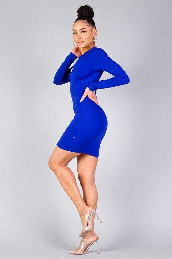 Sexy Long Sleeve Underwire Bodycon Mini Dress - Global Planet