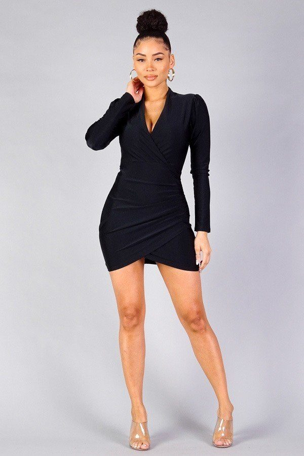 Puff Sleeve Crossover Front Wrap Skirt Dress - Global Planet