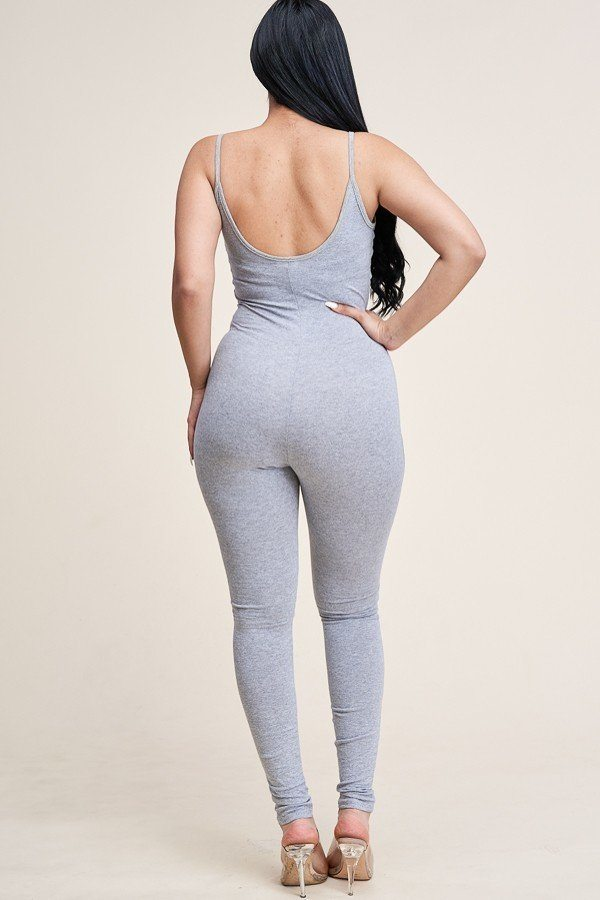 Solid Cotton Spaghetti Strap Catsuit - Global Planet