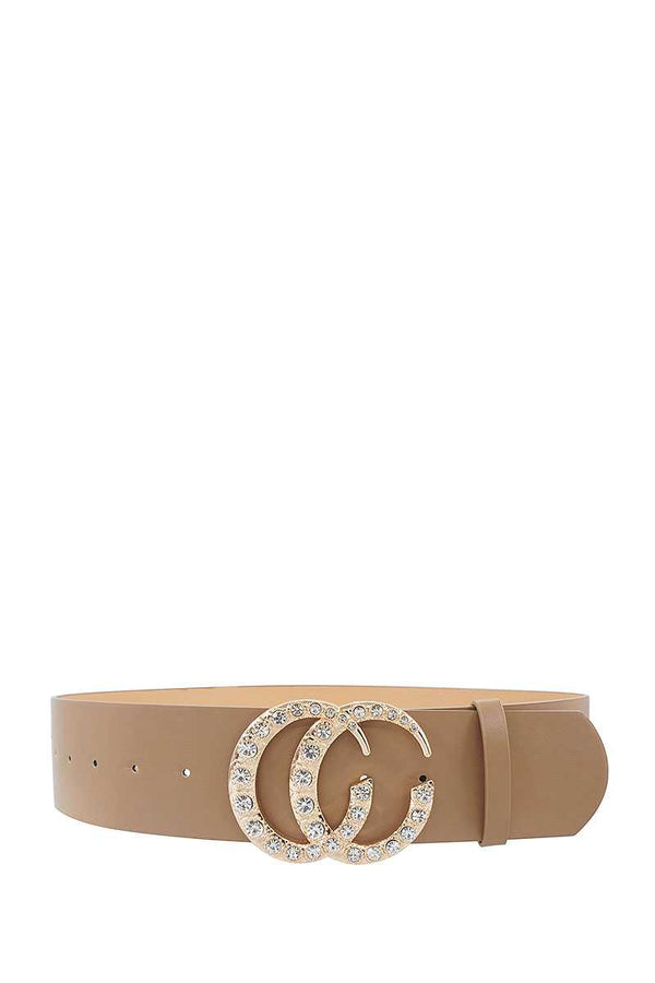 Rhinestone Accented Buckle Belt - Global Planet