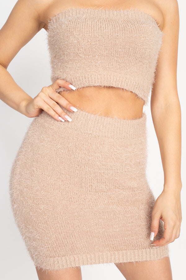 Fuzzy Ribbed Tube Top & Mini Skirt Set