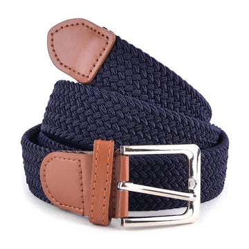 Men's Navy Stretch Braided Woven Belts