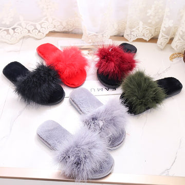 Plush Slippers  Hair Women's Slippers New