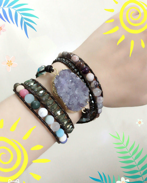 Women Leather Bracelets High End Natural Stones - Global Planet