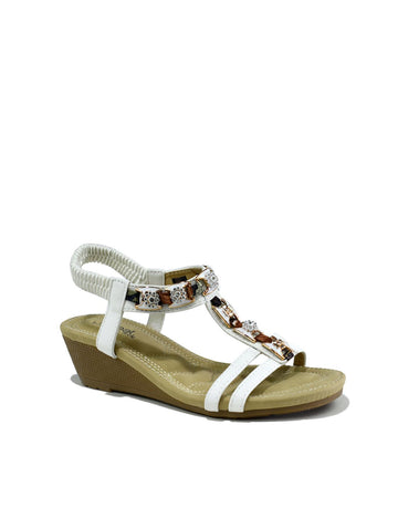 Summer Slingback Wedge White