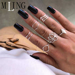 Set Vintage Silver Ring Set Fashion - Global Planet