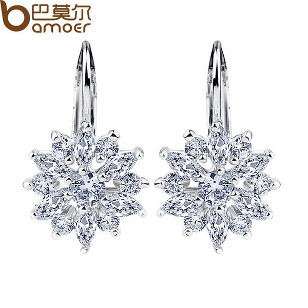 Flower Stud Earrings with Zircon Stone Women - Global Planet
