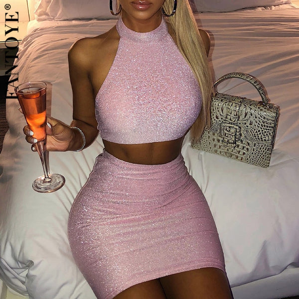 Two Piece Set Women Crop Top And Skirts