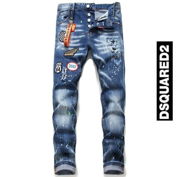 Dsquared2 Personality patch Jeans Slim Fit Men's DSQ2 Washed Denim - Global Planet