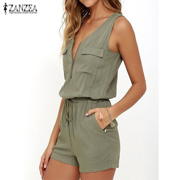 Plus Size 2020 Summer ZANZEA Rompers Womens Jumpsuit Sexy V Neck Sleeveless Zipper Playsuits Casual Solid Bodysuit Beach Overall - Global Planet