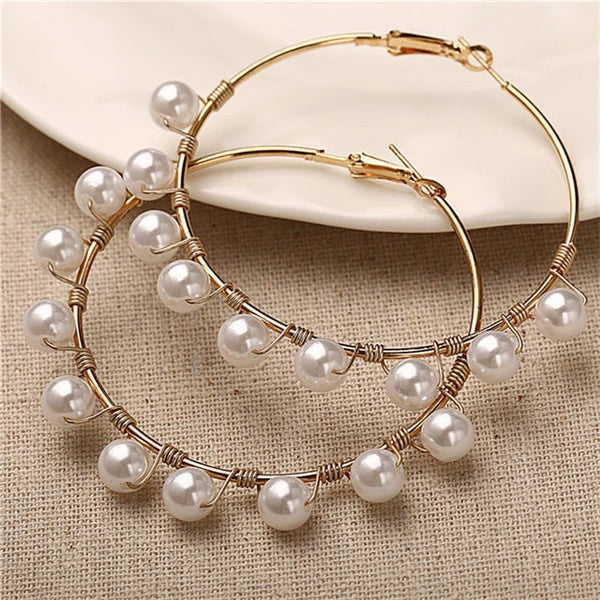 Simple Plain Gold Color Metal Pearl Hoop Earrings Fashion Big Circle Hoops Statement Earrings for Women Party Jewelry - Global Planet
