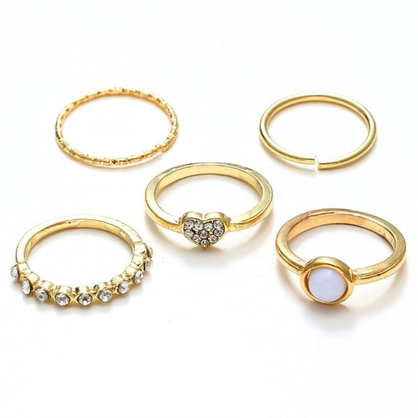 KISSWIFE 8 Pcs/Set Simple Design Round Gold Color Rings Set For Women Handmade Geometry Finger Ring Set Female Jewelry Gifts - Global Planet