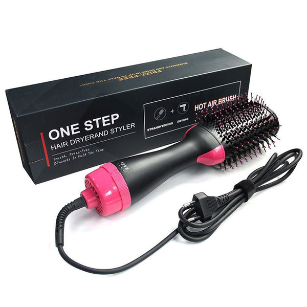 Professional Hair Dryer Brush 2 In 1 Hair Straightener Curler - Global Planet