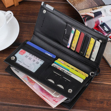 top brand wallet men  Long Bifold Business Leather