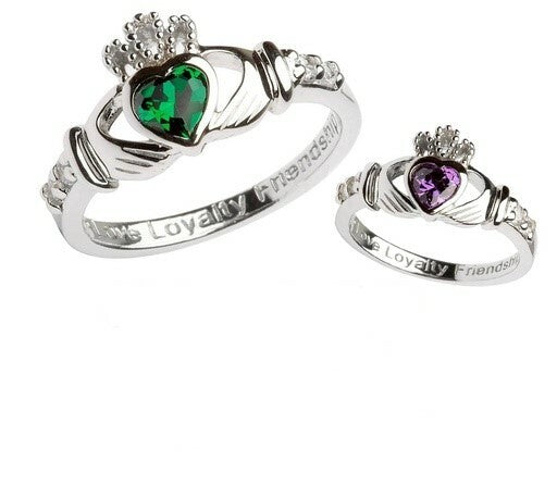 Birthstone Claddagh Rings
