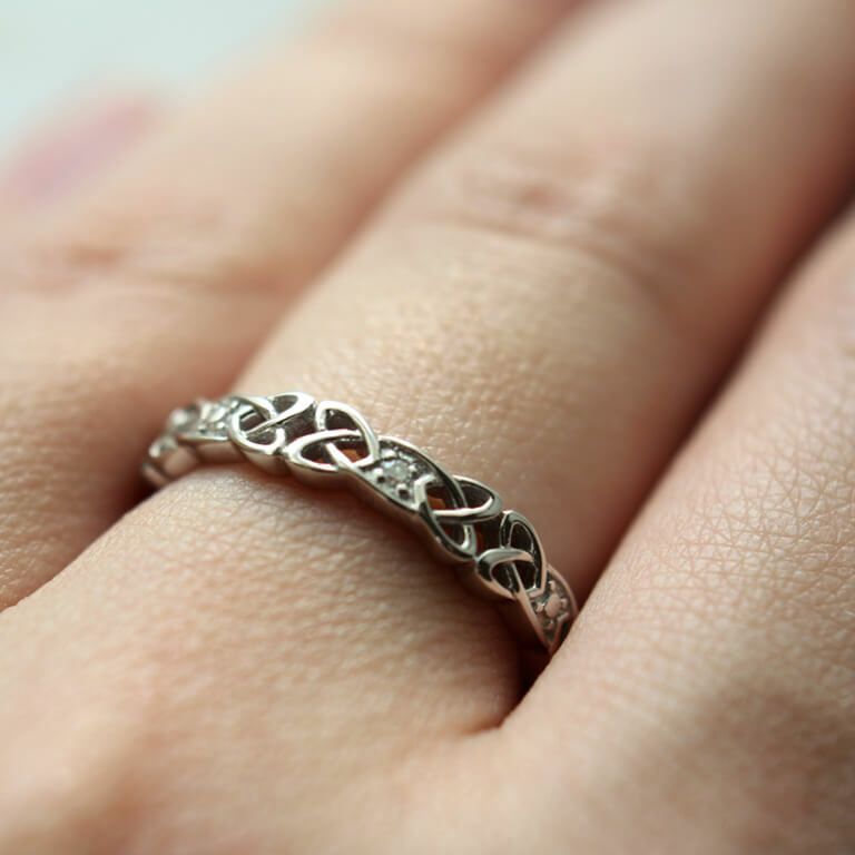 Silver Celtic Knot Diamond Ring