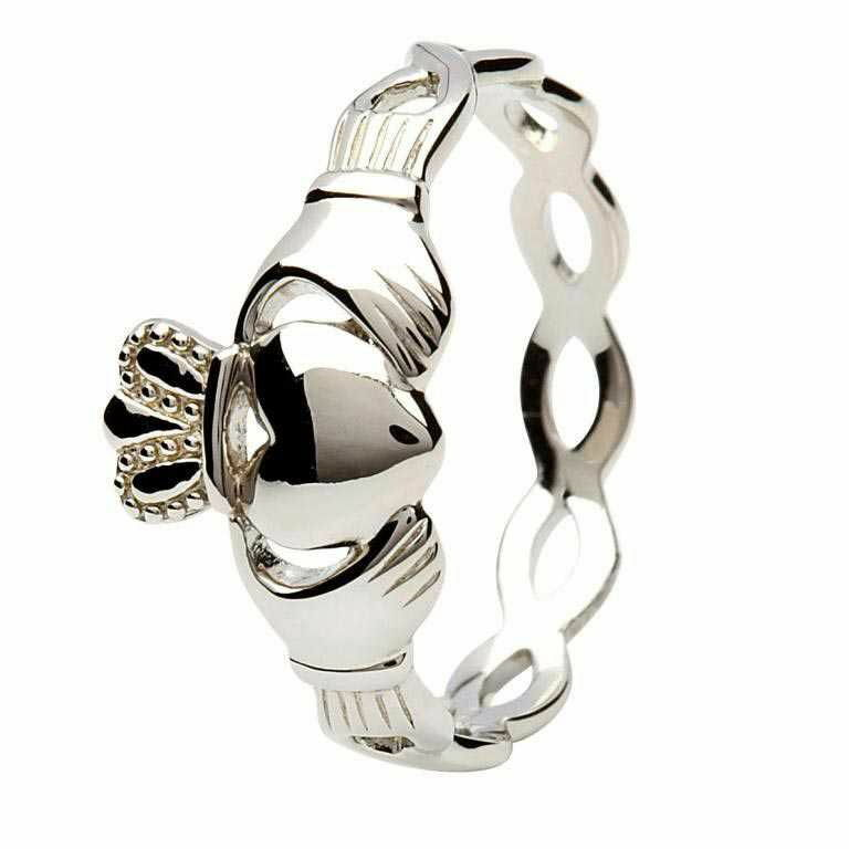 Silver Claddagh Ring - Intertwining Design