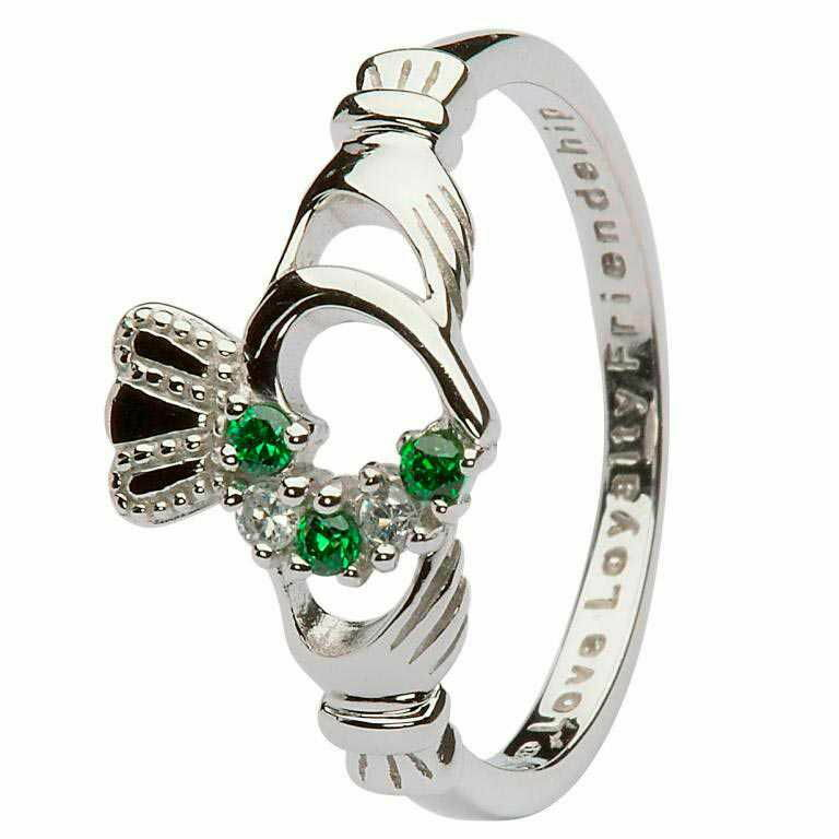 Silver Heart Set Claddagh Ring