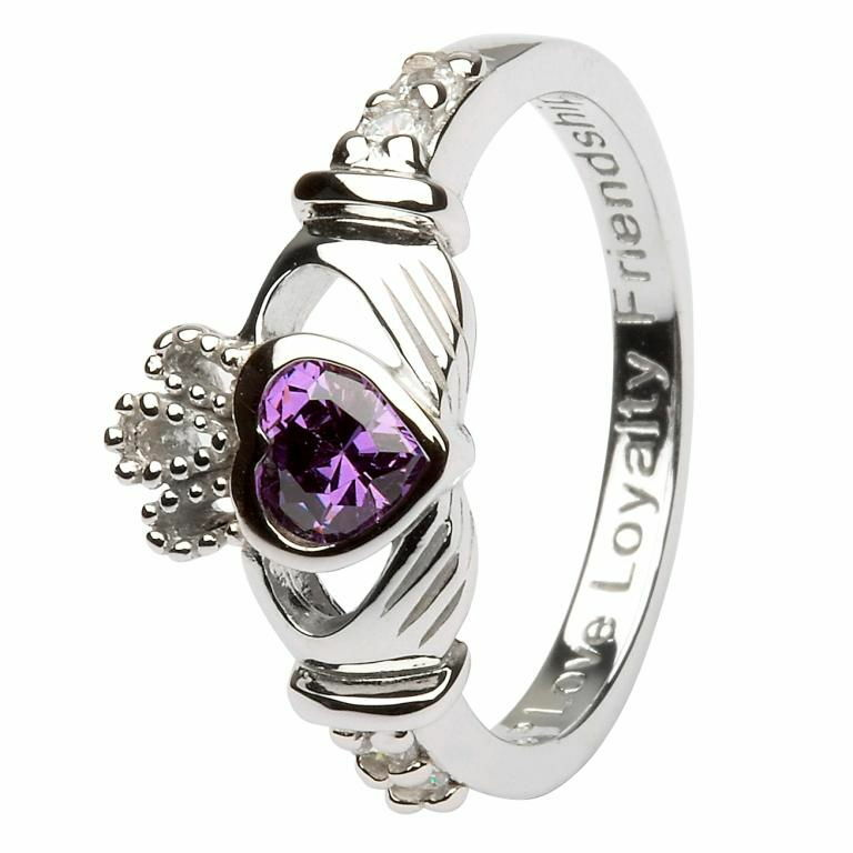 Birthstone Claddagh Ring - February