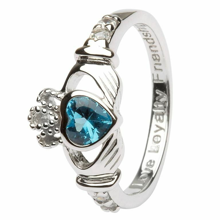 Birthstone Claddagh Ring - December