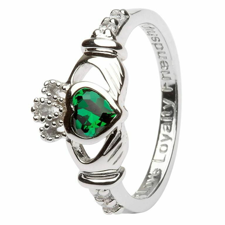 Birthstone Claddagh Ring - May