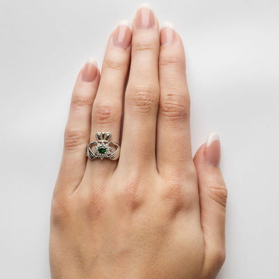 Sterling Silver Stone Set Claddagh Ring