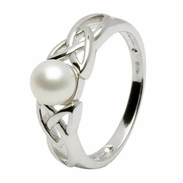 Sterling Silver and Pearl Celtic Knot Ring