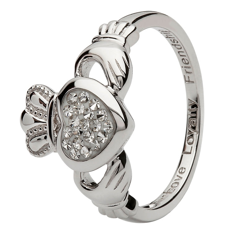 Sterling Silver Claddagh Ring with Swarovski® Crystals