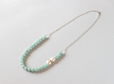 Amazonite and Pearl Necklace (Silver with Chain)