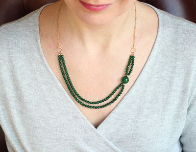 Green Agate Double Necklace (Gold with Chain)