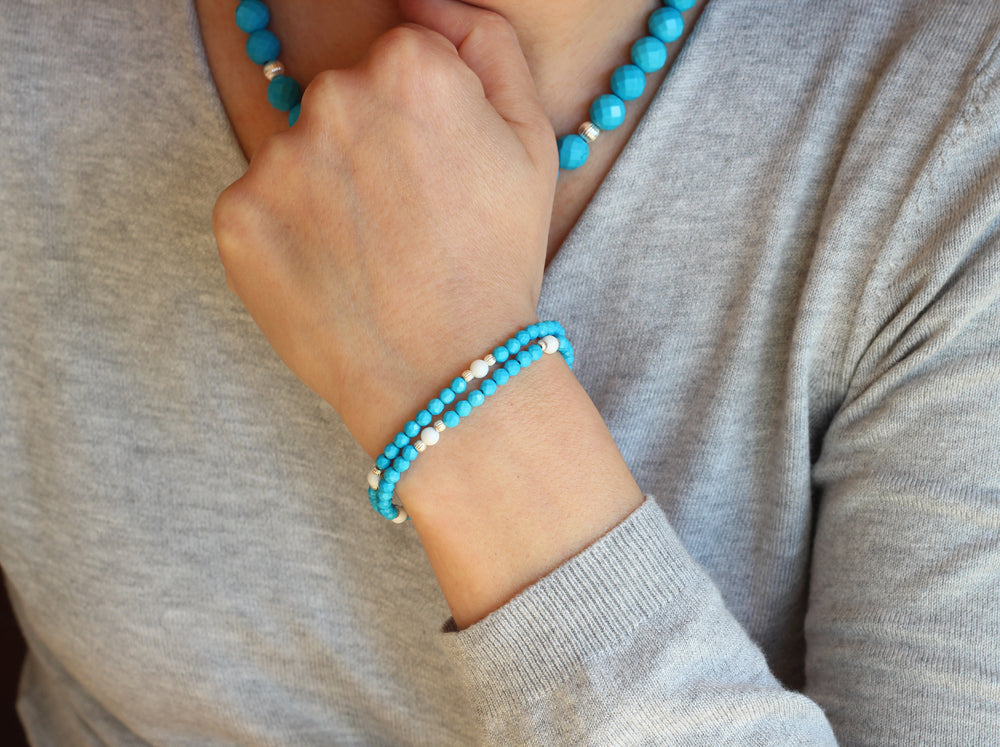 Tridacna and Turquoise Bracelet (Silver)
