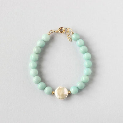 Amazonite and Pearl Bracelet (Gold)