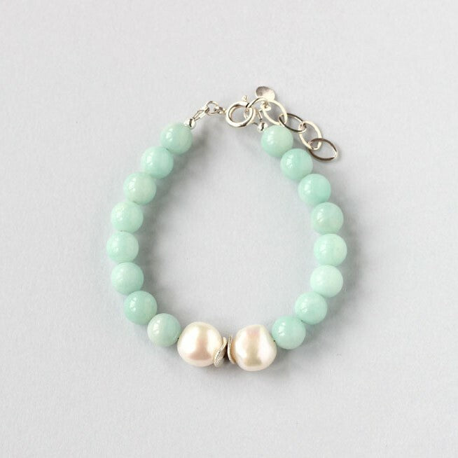 Amazonite and Pearl Bracelet (Silver)