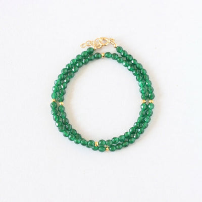 Green Agate Double Wrap Bracelet (Gold)