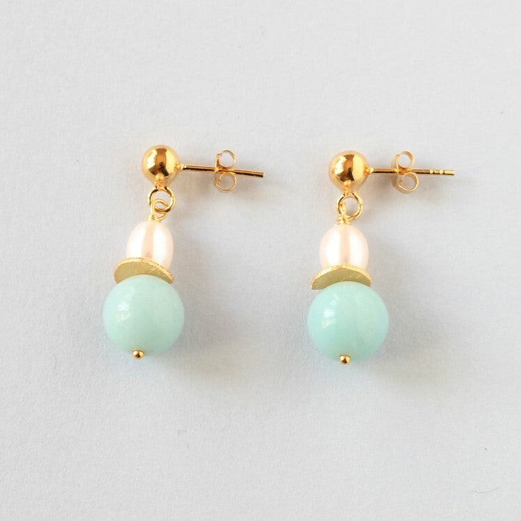 Amazonite and Pearl Stud Earrings (Gold)