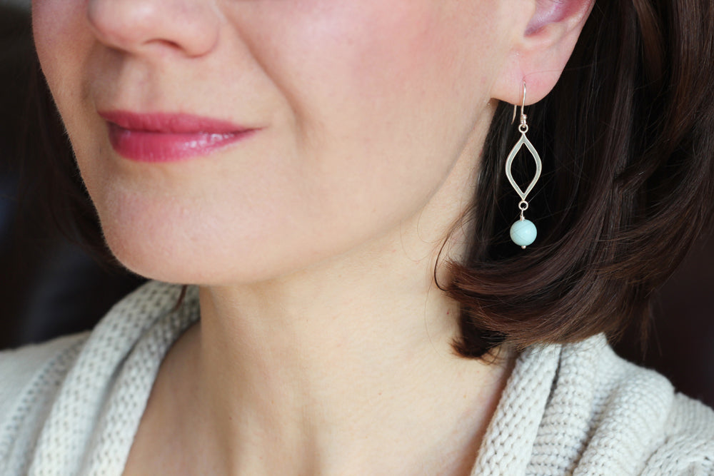 Amazonite Marquise Earrings (Silver)