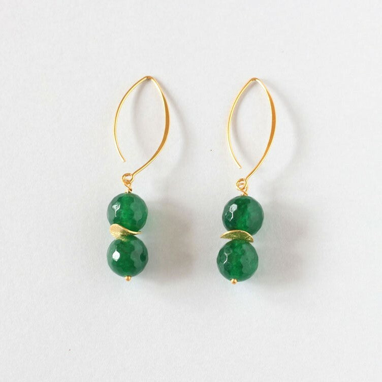 Green Agate Drop Earrings (Gold)