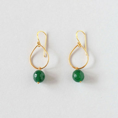 Green Agate Hoop Earrings (Gold)