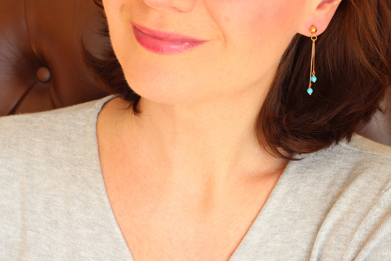 Turquoise Dangling Earrings (Gold)