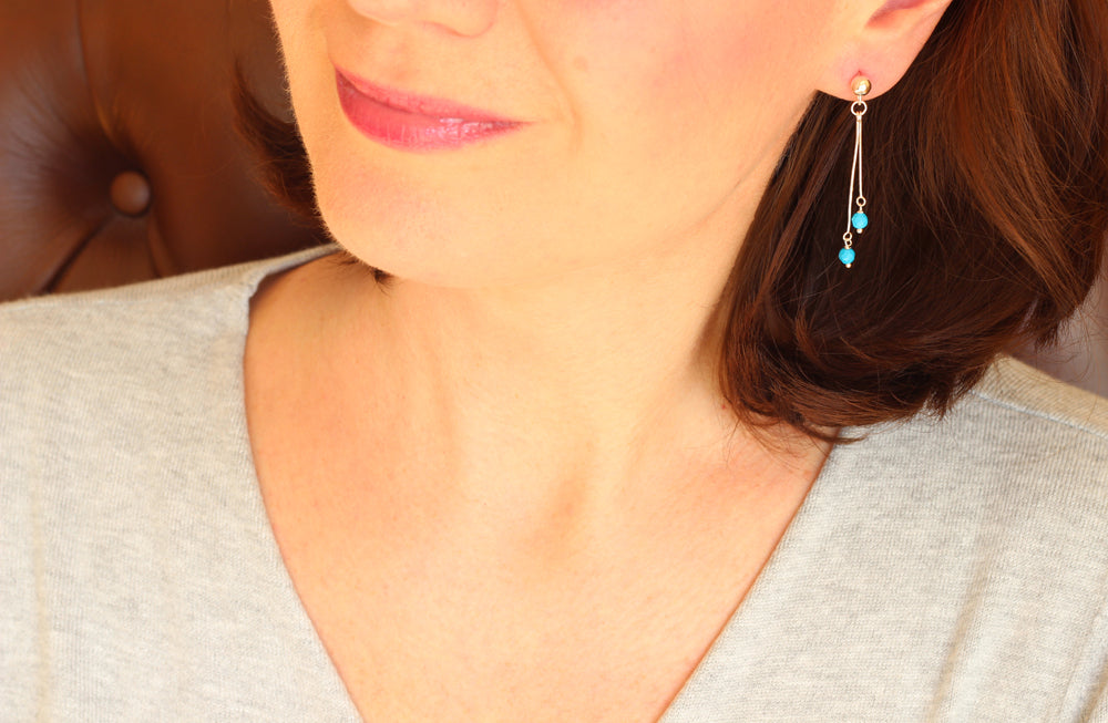 Turquoise Dangling Earrings (Silver)