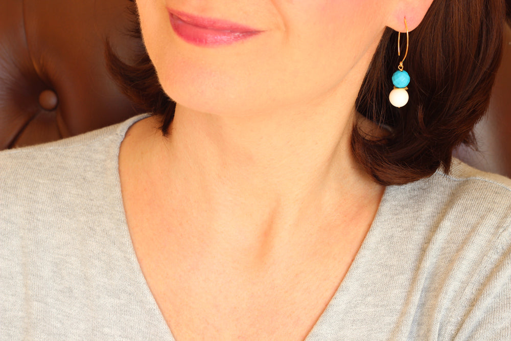 Tridacna and Turquoise Drop Earrings (Gold)