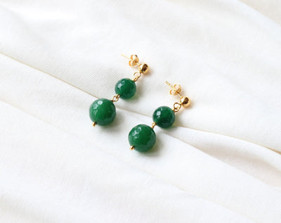 Green Agate Stud Earrings (Gold)