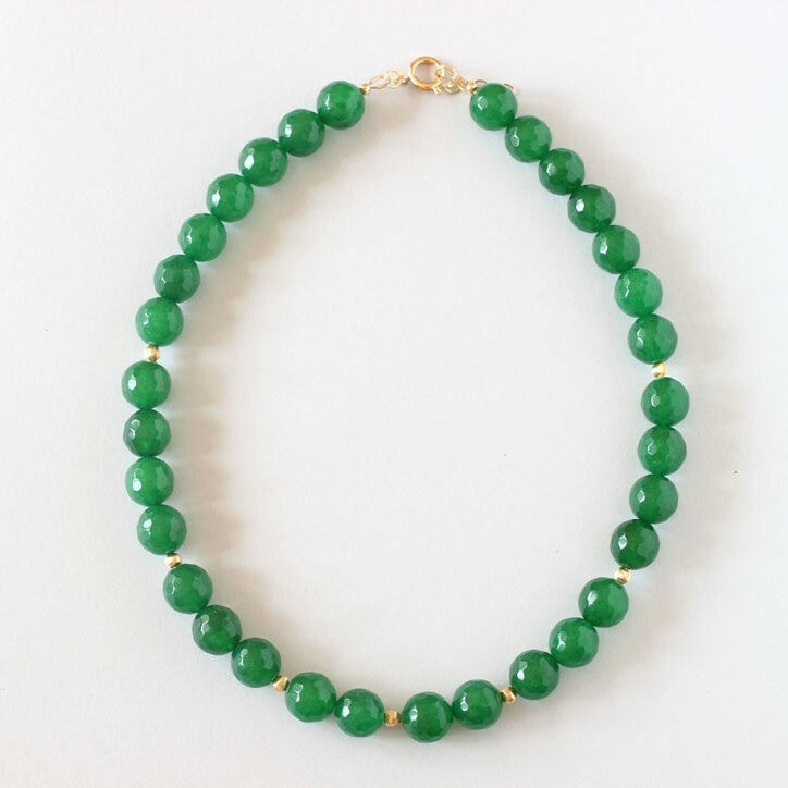 Green Agate Necklace (Gold)